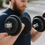 exercising dumbbells